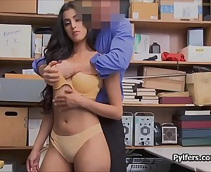 Latina shoplifter arches over for serious cocking